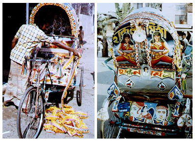 Artists decorating a rickshaw and a freshly decorated rickshaw with film motifs | Courtesy: www.artsricksha.com